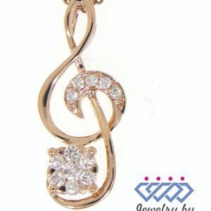 Cluster Diamond Musical Note S Pendant Rose Gold